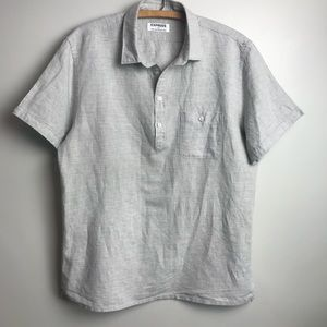 Express Linen Short Sleeve Half Button Down Shirt